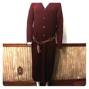 Eddie Bauer Italian Merino Wool Dress L & Belt